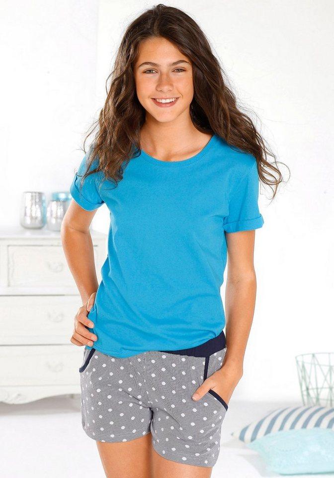 Arizona Shorty Pyjama mit bedruckter Hose und unifarbenen Oberteil in türkis-weiß