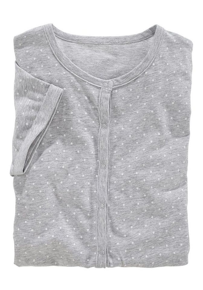 s.Oliver RED LABEL Bodywear Overall mit Knopfleiste vorn in grau meliert-weiß