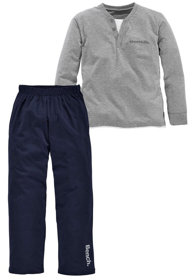 Bench langer Baumwoll- Pyjama in grau meliert-marine