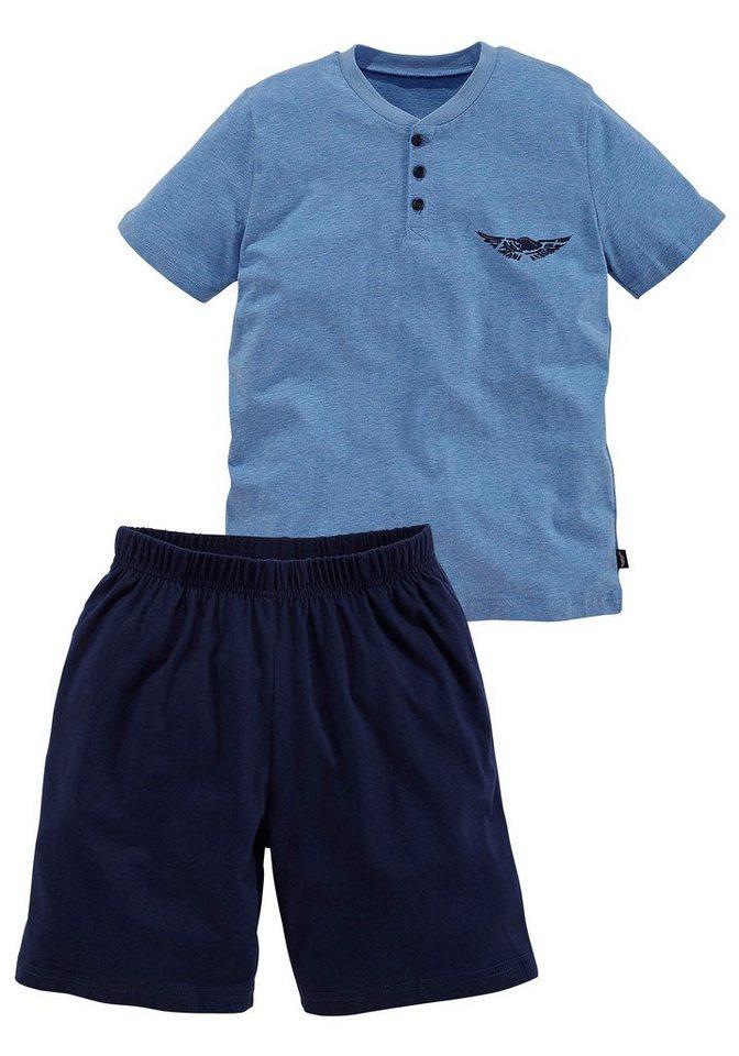 Arizona Shorty, in kurzer Form, Oberteil mit Knopfleiste und Logodruck auf der Brust in blau meliert + marine