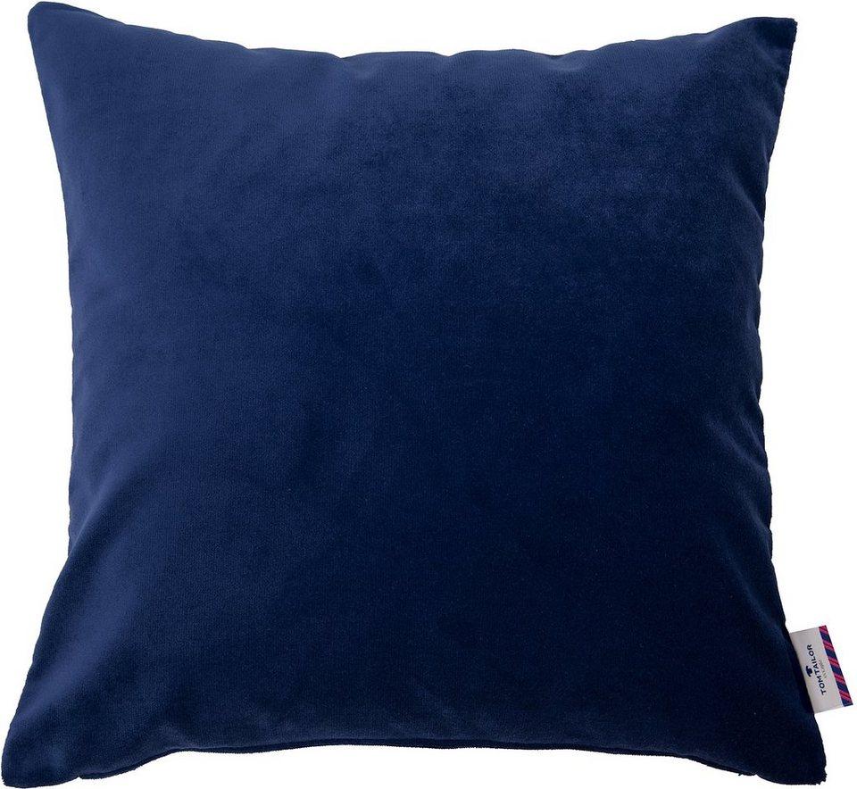 Kissenhülle, Tom Tailor, »Velvet Linen Pad« (1 Stück) in blau