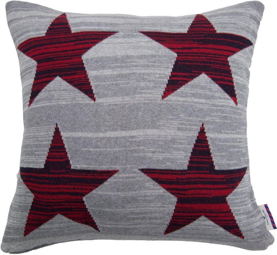 Kissenhülle, Tom Tailor, »Red Stars« (1 Stück) in grau/rot