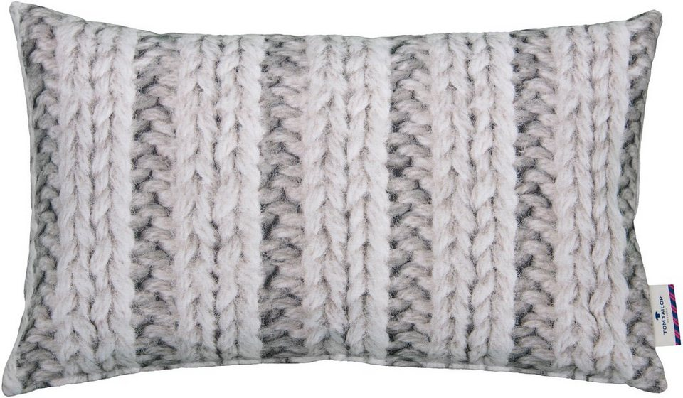 Kissenhülle, Tom Tailor, »Printed Stitch« (1 Stück) in grau