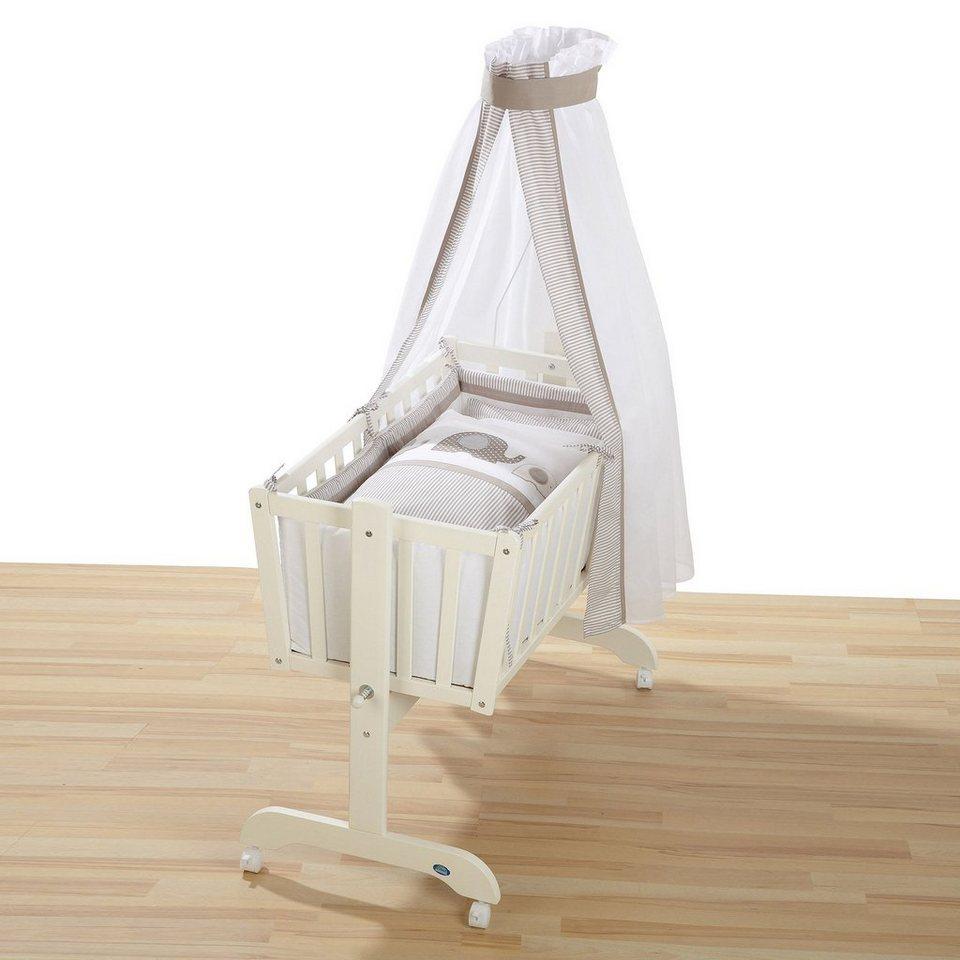 ALVI Wiege mit Ausstattung Elefant 40x90 cm in weiß