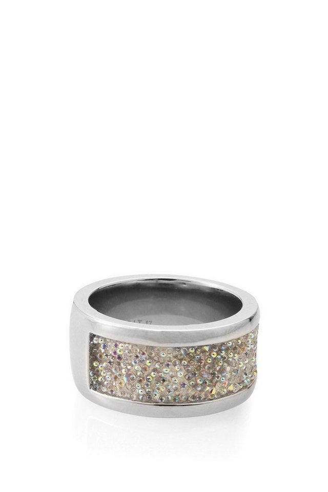 ESPRIT CASUAL Breiter Ring mit Glitzerpartie in one colour