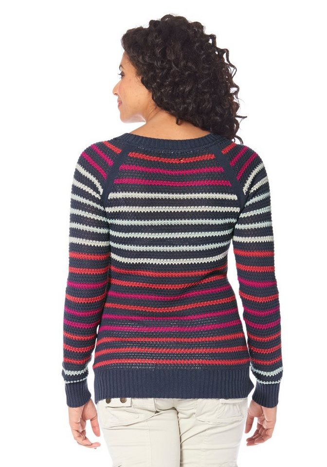 Damen Boysens Streifenpullover, Strukturstrick mit tollem Farbverlauf blau, weiß | 04894357081470