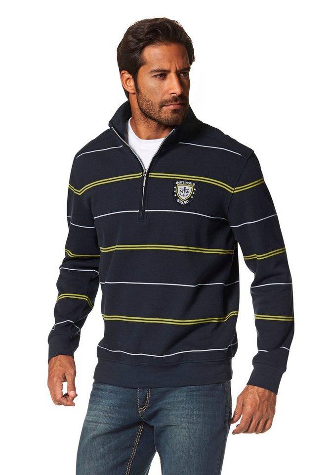 Man's World Sweatshirt in marine-gelb-gestreift