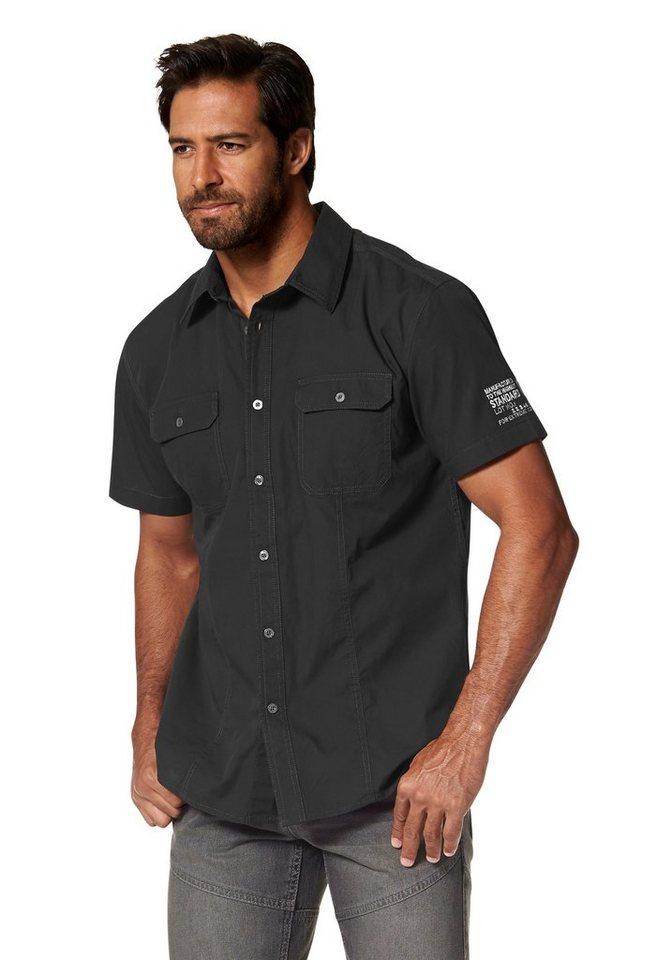 Man's World Kurzarmhemd in schwarz