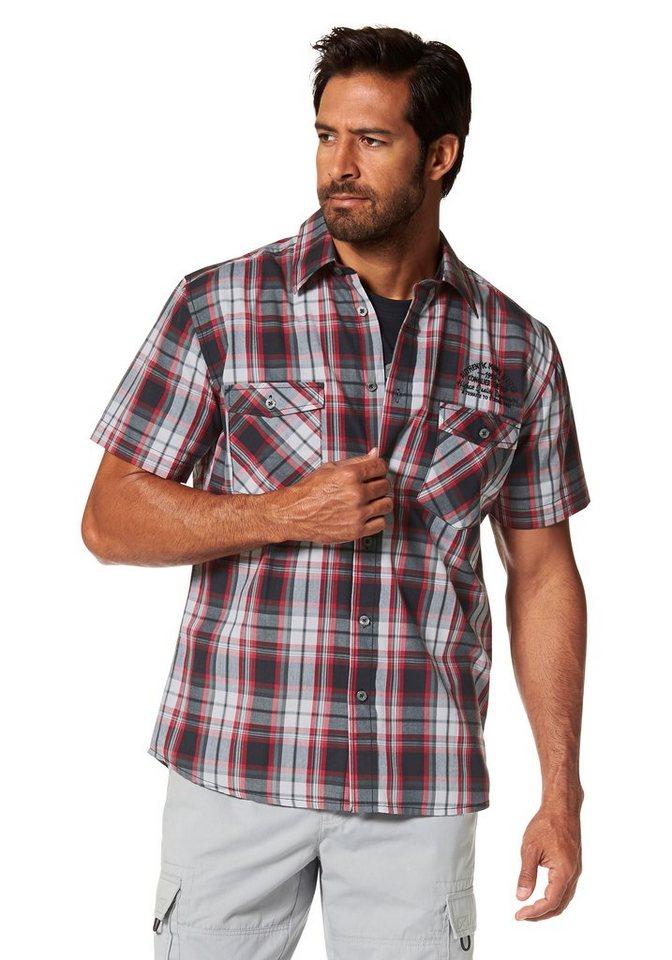 Man's World Kurzarmhemd in rot-anthrazit-kariert