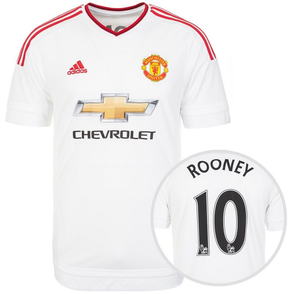 adidas Performance Manchester United Trikot Away Rooney 2015/2016 Herren in weiß / rot