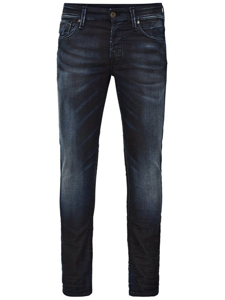 Jack & Jones Glenn Icon BL 533 Indigo-Strick Slim Fit Jeans in Blue Denim