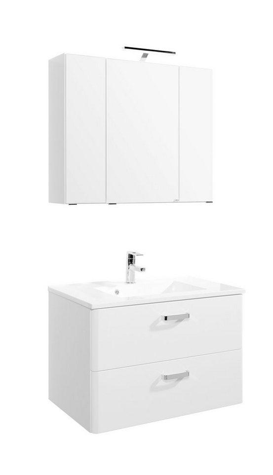 Held Möbel Waschplatz-Set »Mailand«, Breite 80 cm, 2-teilig in weiß