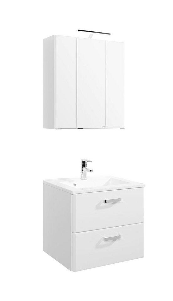 Waschplatz-Set »Mailand«, Breite 60 cm, 2-teilig in weiß