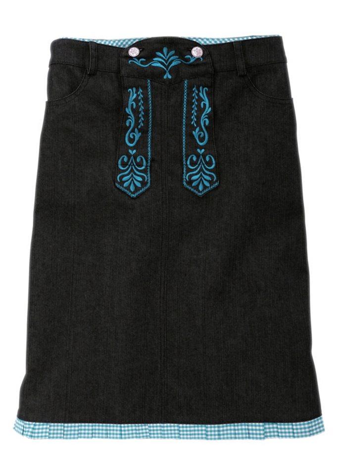 Trachtenrock mit besticktem Latz in schwarz/türkis