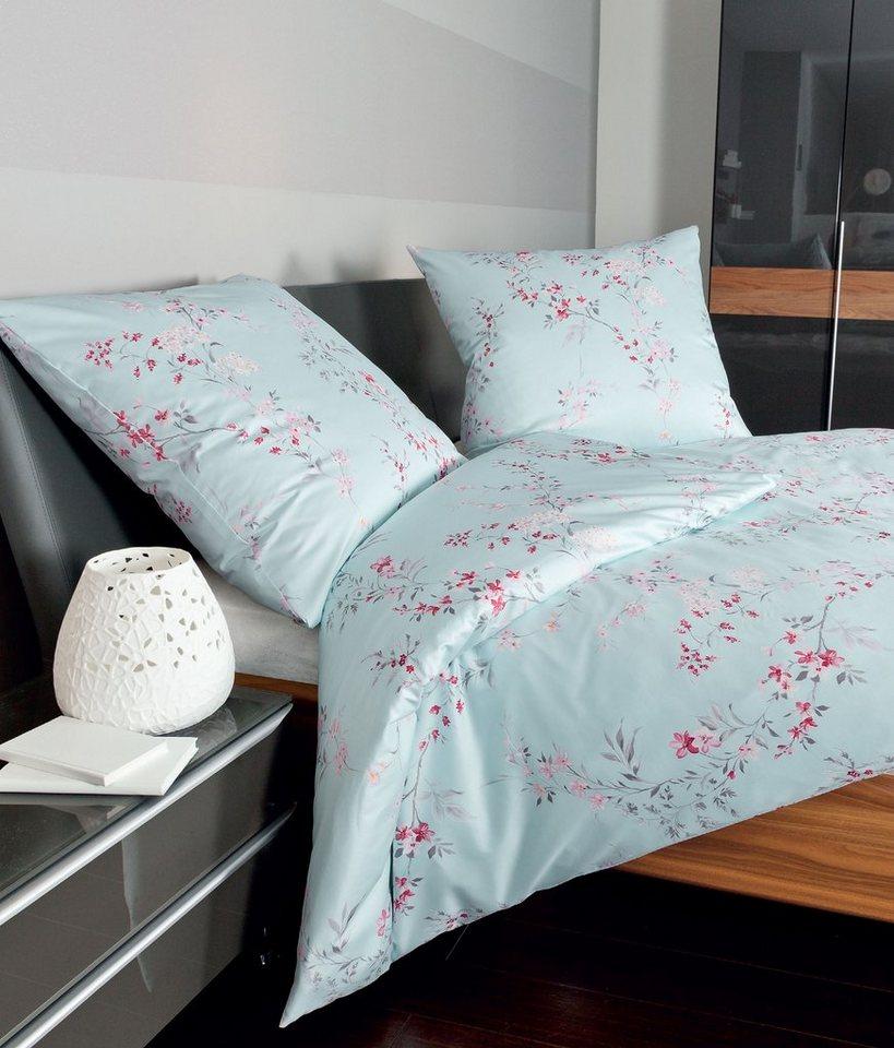 Bettwäsche, Janine, »Lovley«, mit Blüten und Zweigen in blau-pink