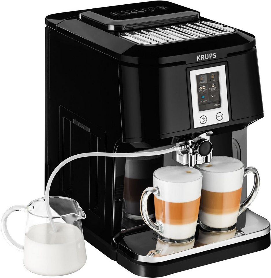 Krups Kaffeevollautomat EA8808 2-in-1 Touch Cappuccino in schwarz
