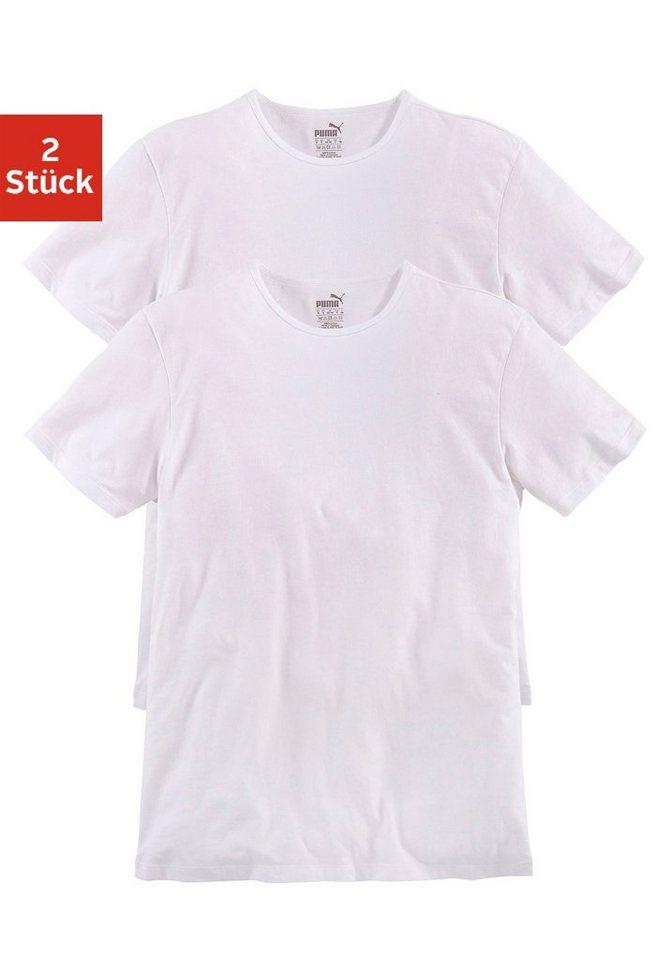 PUMA Basic T-Shirts (2 Stück) mit Rundhalsausschnitt in 2x weiß