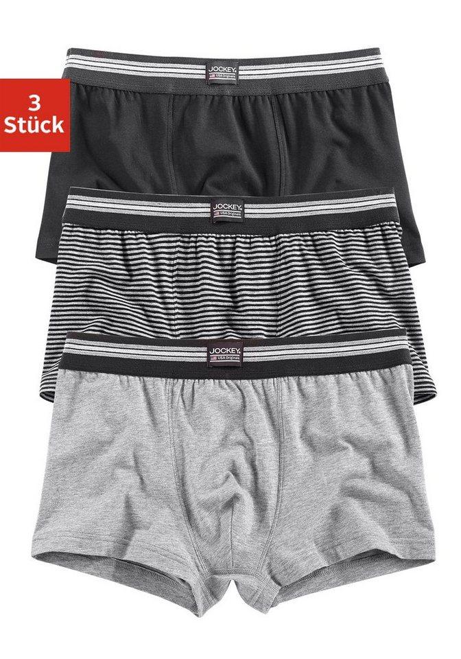 Jockey, Short Trunk (3 Stück), modischer Boxer in Uni und gestreift in schwarz + gestreift + grau meliert