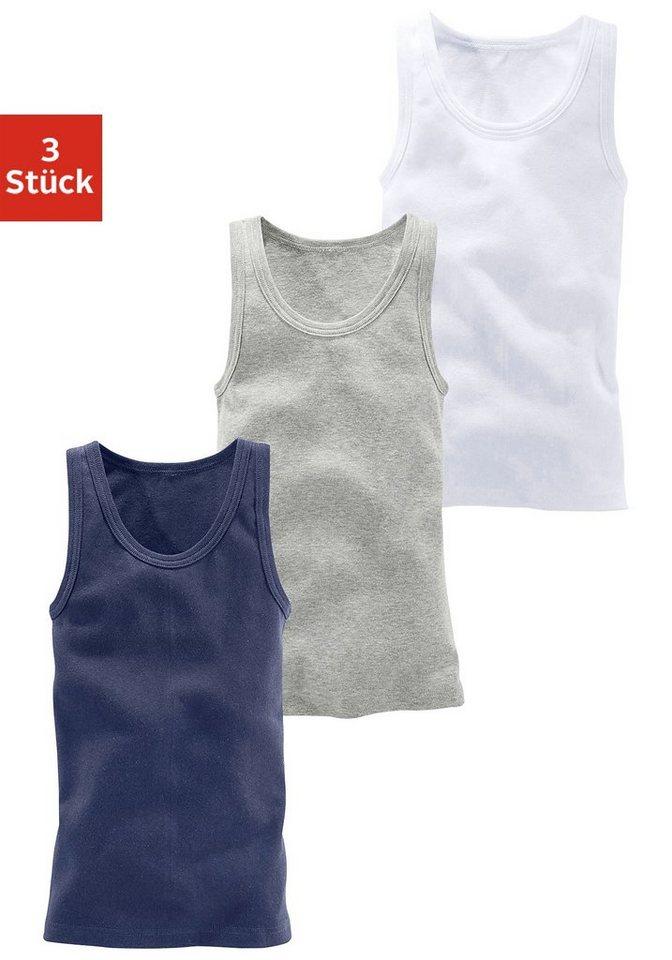 H.I.S Tanktops (3 Stück), ideal zum Drunterziehen, Feinripp in Basicfarben in weiß + grau meliert + marine