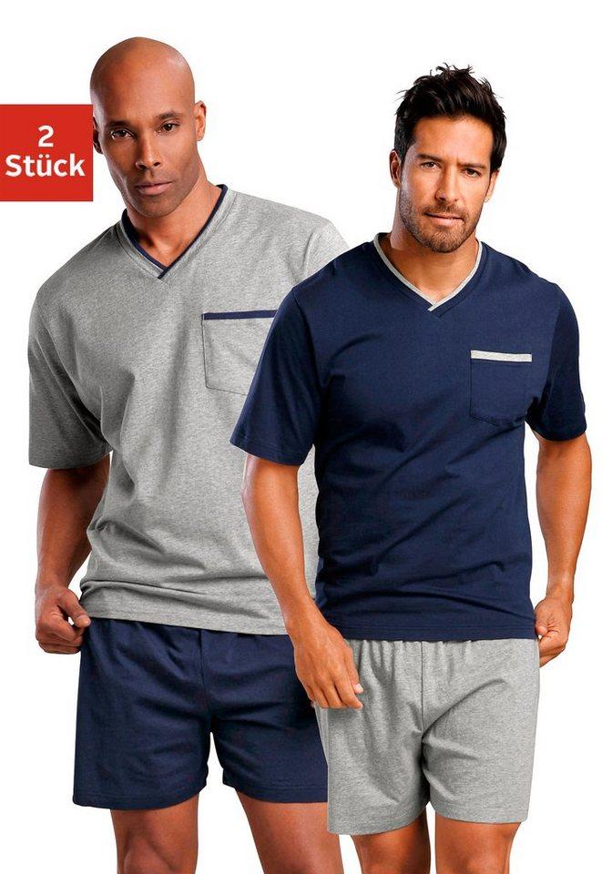 Le Jogger, Shorty (2 Stück), Pyjamas, kurz in marine + grau meliert