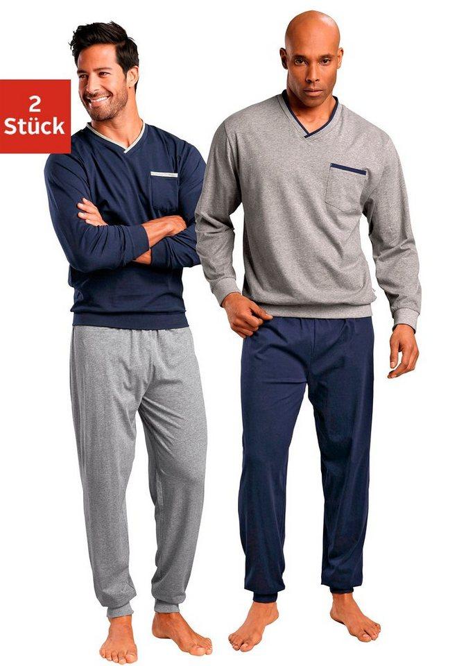 Le Jogger, Pyjamas (2 Stück), lang in marine + grau meliert