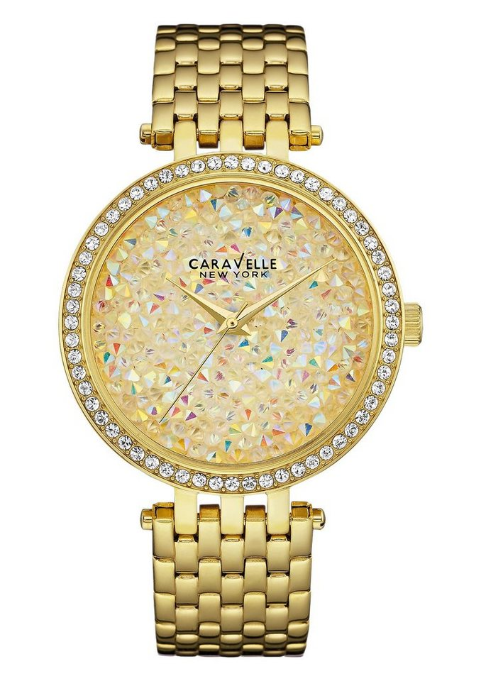 Caravelle New York Quarzuhr »Crystal Rock, 44L184« in goldfarben