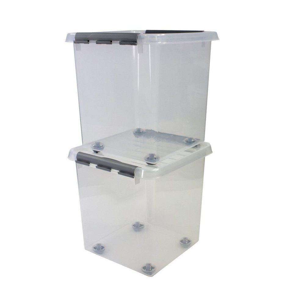 2er Set Aufbewahrungsboxen »38 Liter«, mit Rollen in weiß