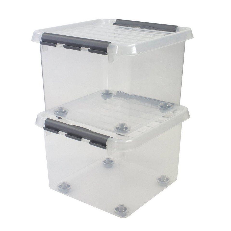 2er Set Aufbewahrungsboxen »26 Liter«, mit Rollen in weiß