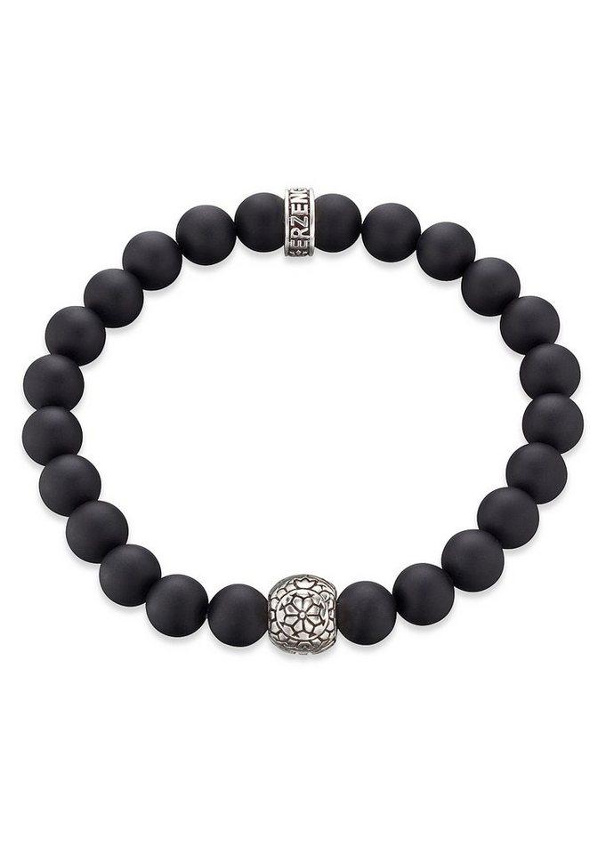 Erzengel Zugarmband mit schwarzen Onyxperlen, »Maori Rongo, ZJB-RO-1S-24O« in schwarz/Silber 925