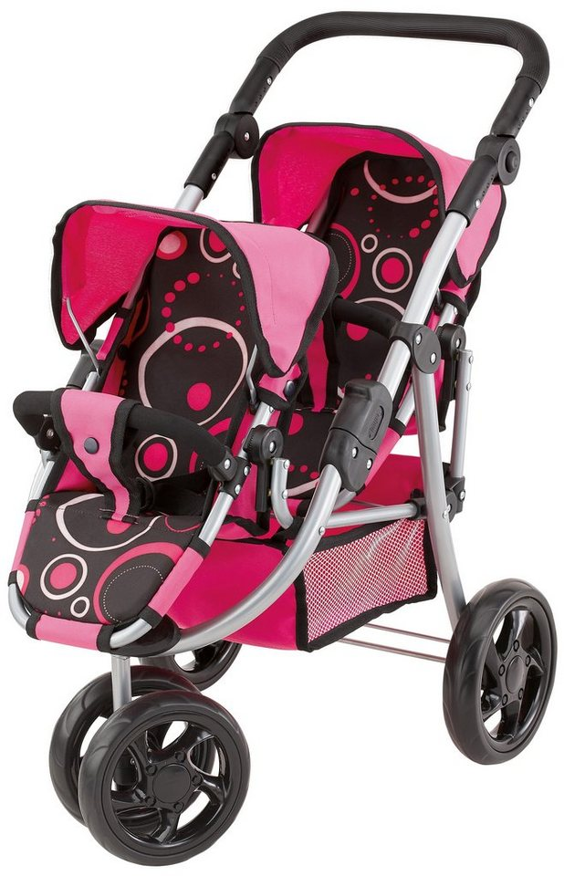 Bayer Design Zwillingspuppenwagen, »Twin Jogger« in rosa