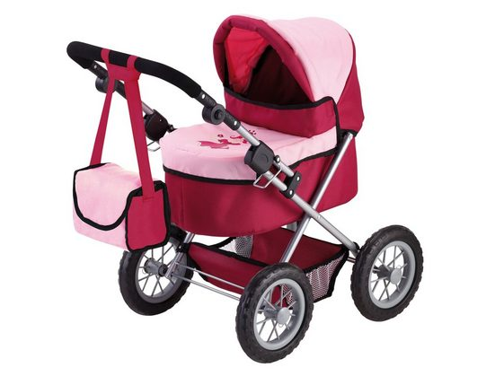 Bayer Puppenwagen »Trendy, Prinzessin rot/rosa«, inkl. Wickeltasche