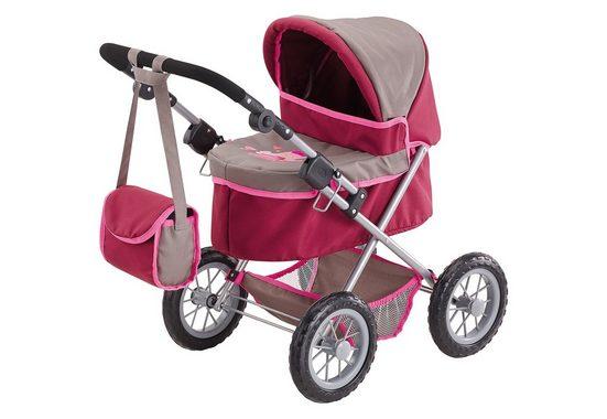 Bayer Puppenwagen »Trendy, Prinzessin rot/grau«, inkl. Wickeltasche