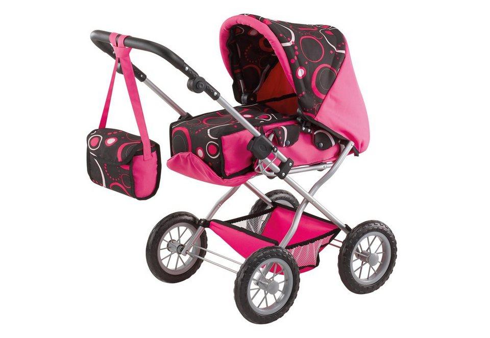Bayer Design Kombi-Puppenwagen, »Grande, schwarz« in rosa