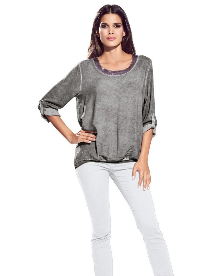 B.C. BEST CONNECTIONS by Heine Oversized-Bluse in grau-melange