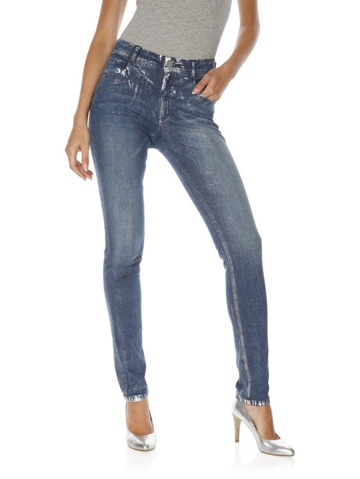 ASHLEY BROOKE by Heine Bodyform-Jeans mit Metallic-Effekt in blue denim