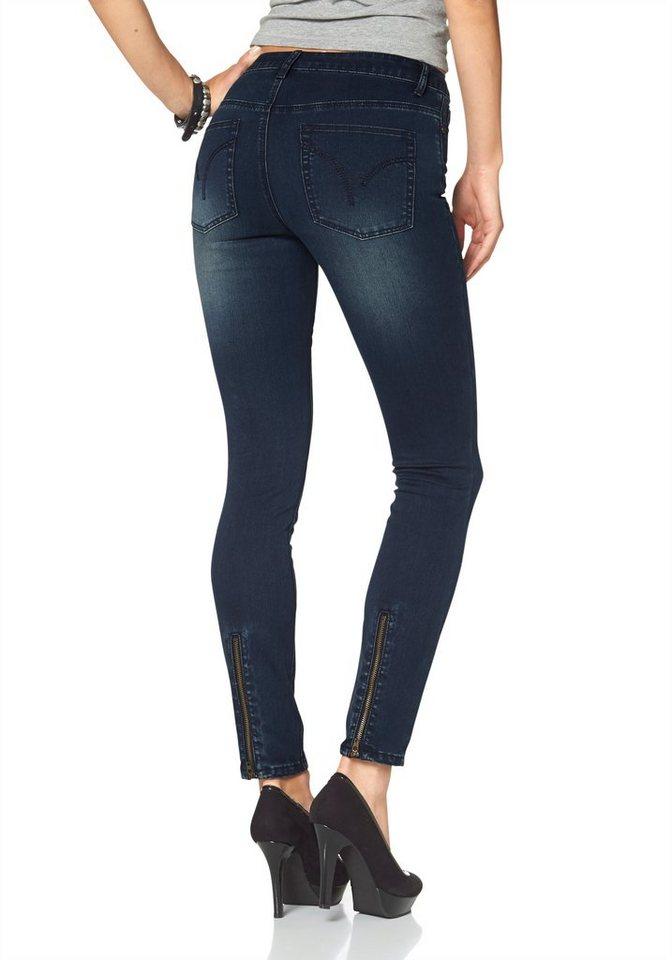 Arizona Skinny-fit-Jeans »mit Back-Zipper« High Waist in darkblue-used