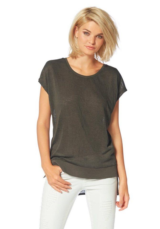 Laura Scott Rundhalsshirt vorne mit breitem Bündchen in khaki