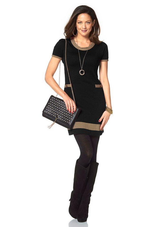 Chillytime Strickkleid in schwarz-creme
