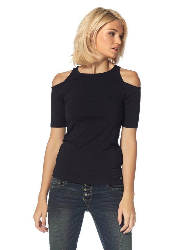 Laura Scott Rundhalsshirt mit Schulter-Cut-Outs in schwarz