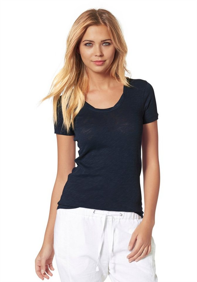 Marc O'Polo T-Shirt in Cosy Slub Yarn Qualität in dunkelblau