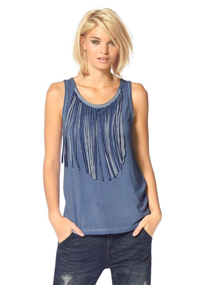 Laura Scott Tanktop mit Fransen und Oil-Wash in blue