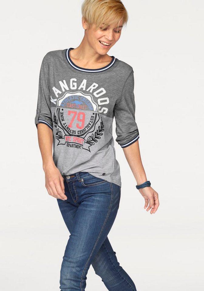 KangaROOS Print-Shirt im College-Look in anthrazit-hellgrau