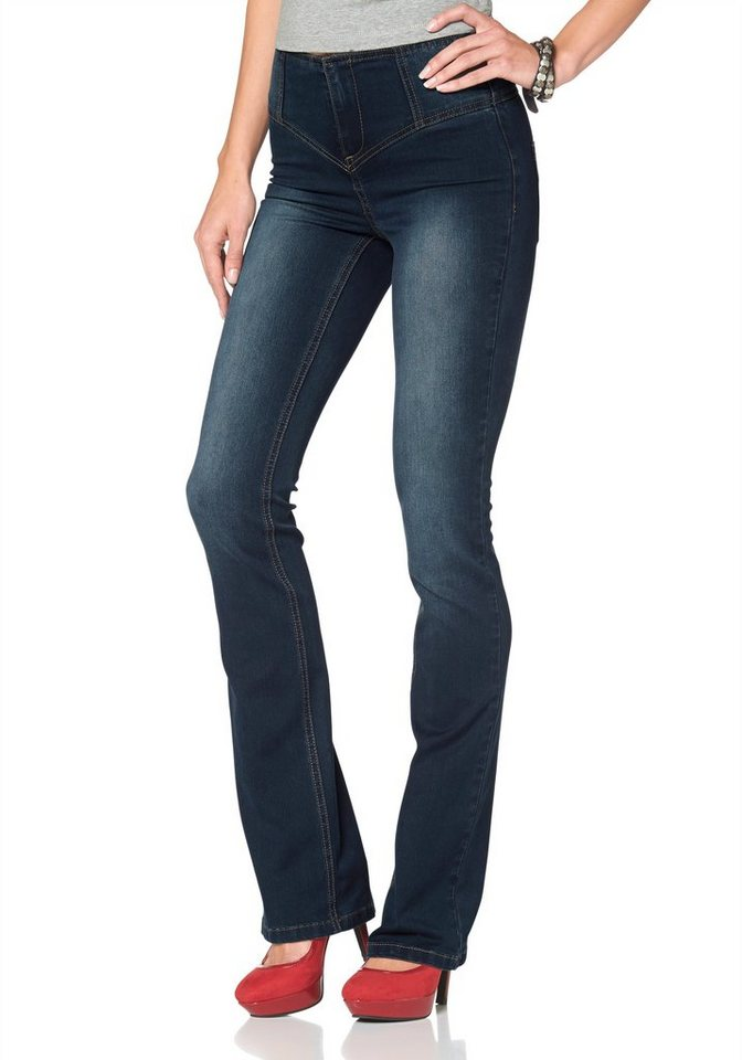 Arizona Bootcut-Jeans »Shaping« High Waist Power-Stretch in dark-blue-used
