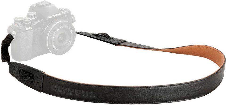 Olympus CSS-S119L Premium Leder Trageriemen in Schwarz