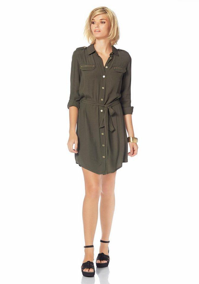 Laura Scott Hemdblusenkleid mit Bindegürtel in khaki