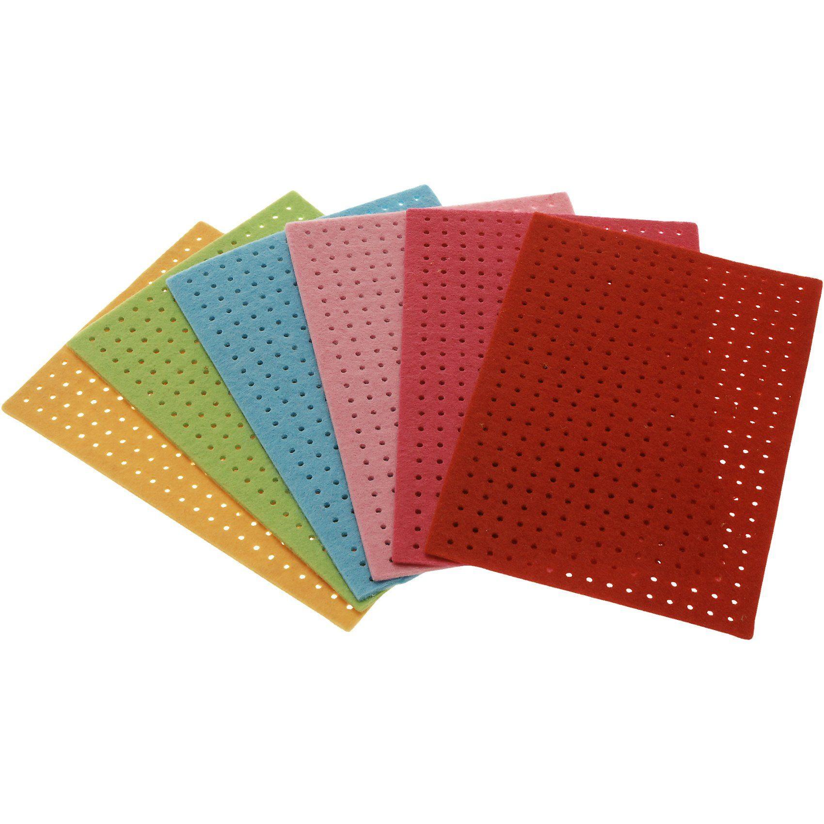 SUNNYSUE Filz-Stickplatten Erste Stickübungen, 6 Stück