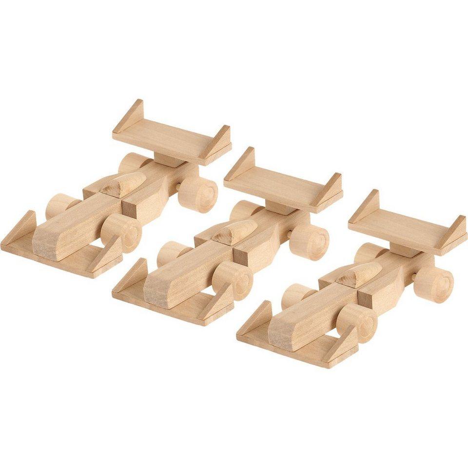 SUNNYSUE Holzbausatz Rennauto, 3 Stück