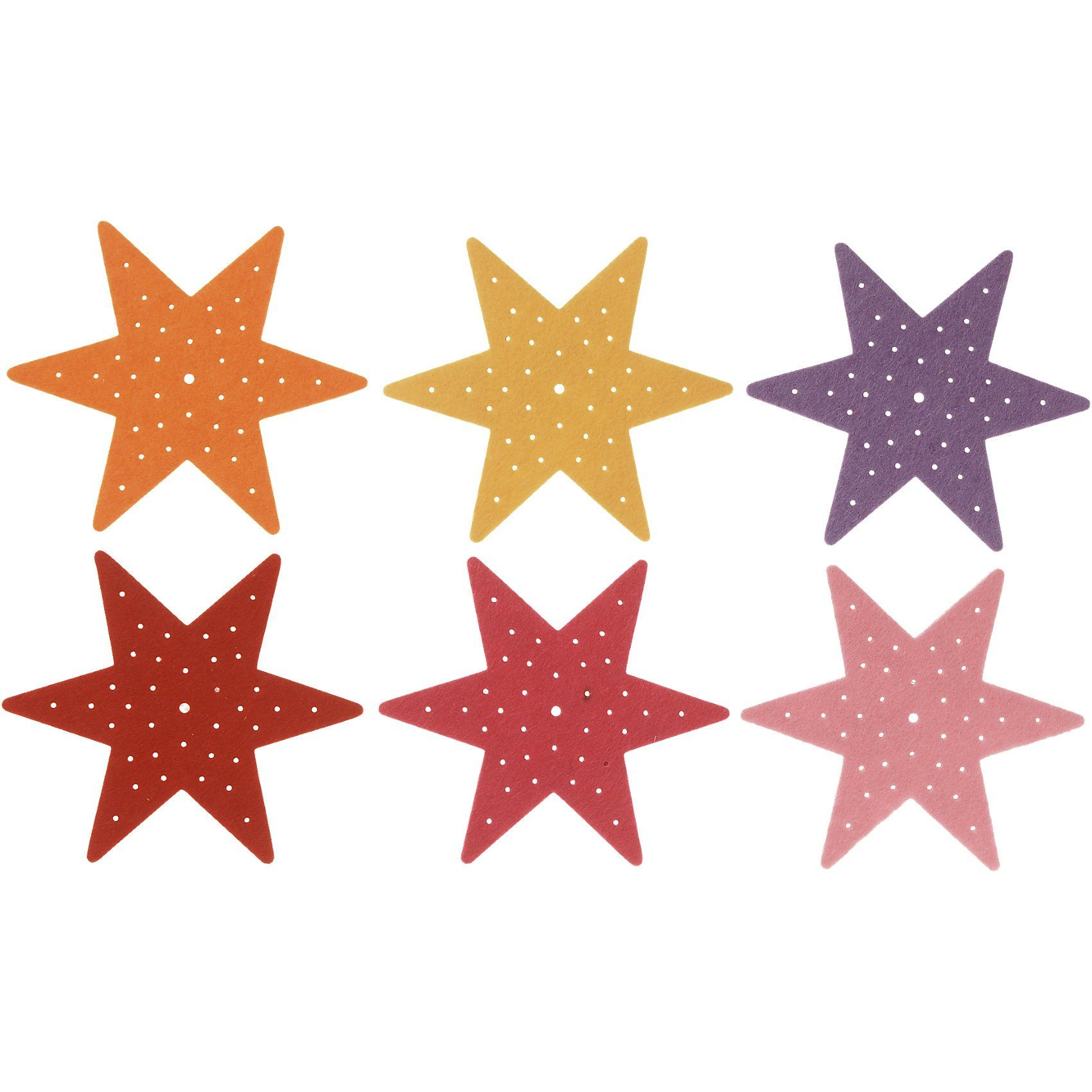SUNNYSUE Filz-Stickplatten Stern Erste Stickübungen, 6 Stück
