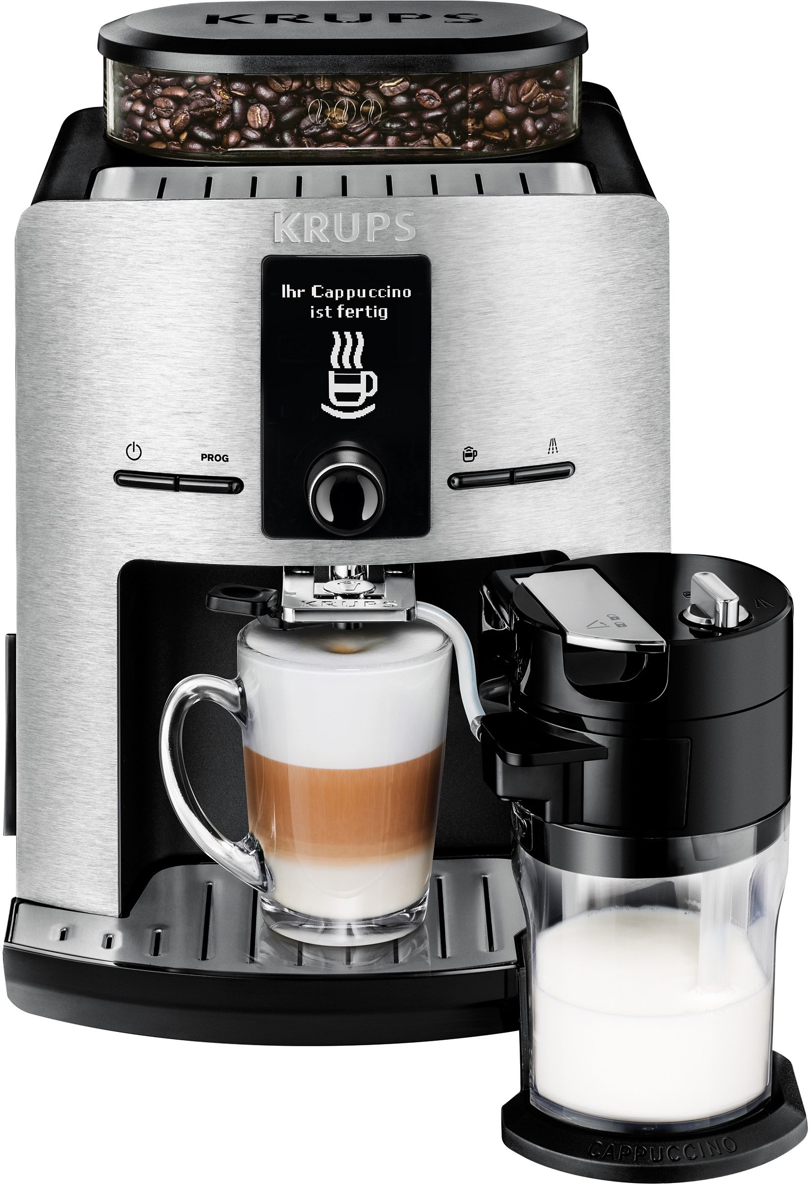 Krups Espresso-Kaffee-Vollautomat EA829D One-Touch-Cappuccino, integrierter Milchtank, Aluminium
