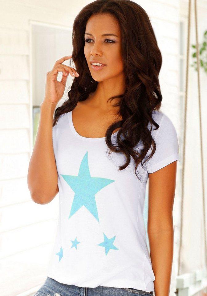 Vivance T-Shirt mit Sternenprints in weiß
